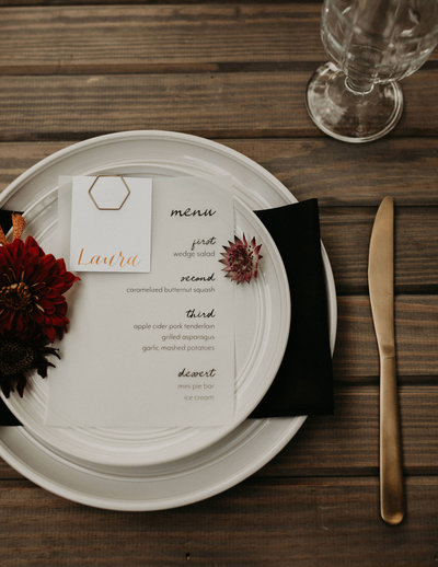 vellum menu and calligraphy placecard