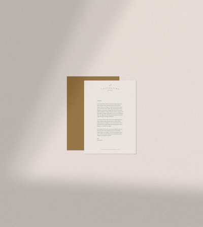 Letterhead design for Cultivating Your Story crafted by Rhema Design Co.