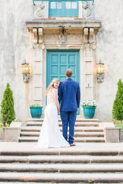 Couple getting married at dresser mansion