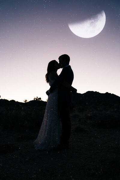 silhouette of elopement couple