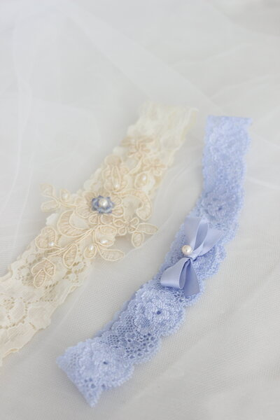Custom garter set in ivory and powder blue with ivory applique pearls and blue crystals 4