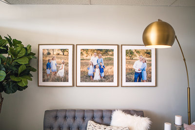 family session gallery wall in studio