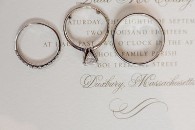 Wedding bands from a Duxbury, Massachusetts wedding at Duxbury Bay Maritime School