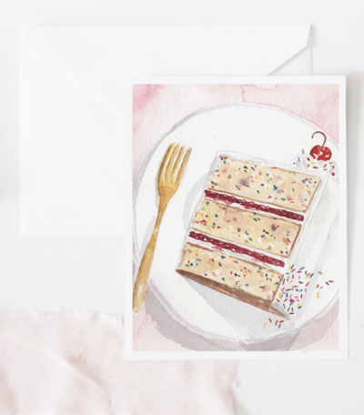 piece of cake watercolor birthday card