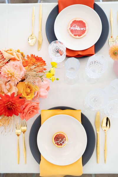Bright colorful los angeles wedding reception table with citrus (1)