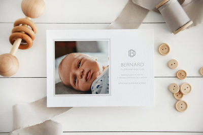 Letterpress-Birth Announcement-Grey-Monogram-2000