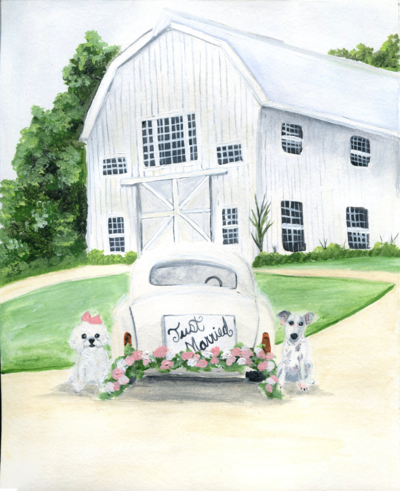 White Sparrow Barn in Dallas Texas live wedding painting