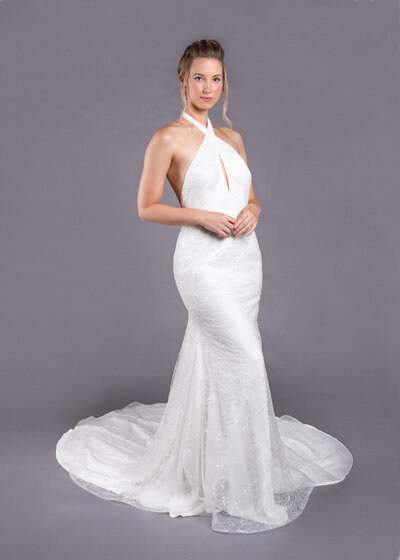 Model wearing Marlene from the Edith Elan 2020 bridal collection