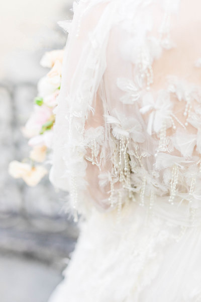 detailed picture of bride's dress