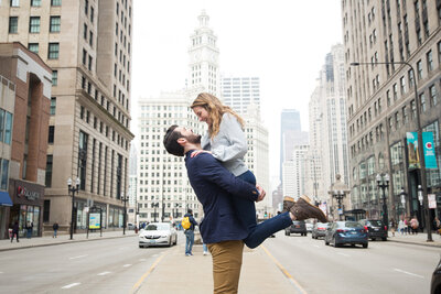 Downtown Chicago Mag Mile Trump Hotel Surprise Proposal Engagement Session Taylor Ingles Photography 45
