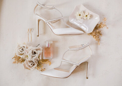 Pearl Wedding Shoes and Flowers