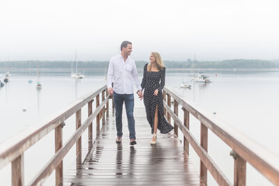 Engaged couple in castine taking engagement photos