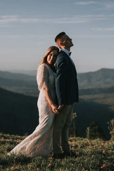 A Bride and Groom on the mountain top in the Gold Coast Hinterland