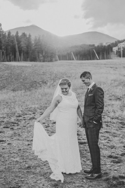 Black and white photo of a couples elopement, Denver wedding photographer