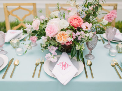 Color Spring Tablescape with Blush Pink Coral Greenery Centerpiece and Monogrammed Hemstitched Napkin