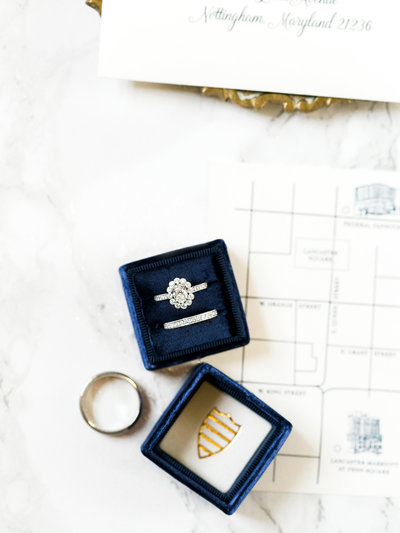 Wedding rings and custom map for wedding at The Excelsior