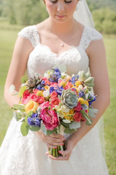 Bridal bouquet portrait at King Family Vineyards in Charlottesvile, Virginia