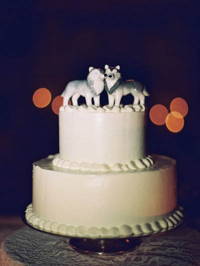 Wedding Cake with Wolf Cake Topper