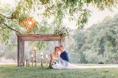 Wedding Photography, couple sitting under a tree together