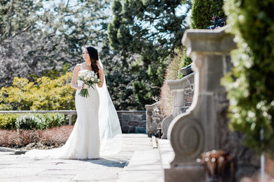asian bride in pronovias wedding gown