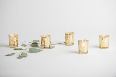 Gold Mercury Votives Rental