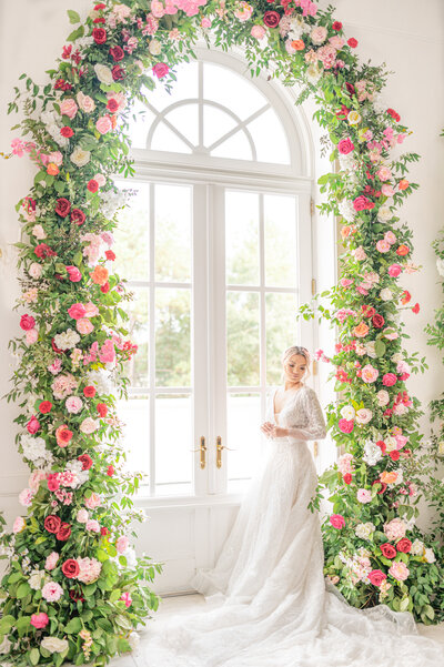 spring rose arch chateau cocomar wedding