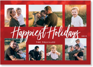 red bokeh multi photo holiday card