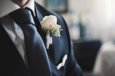 Groom's boutonniere at delaware wedding
