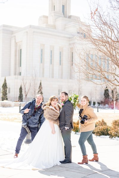 Jessie and Dallin behind the scenes with bride and groom at the ogden temple