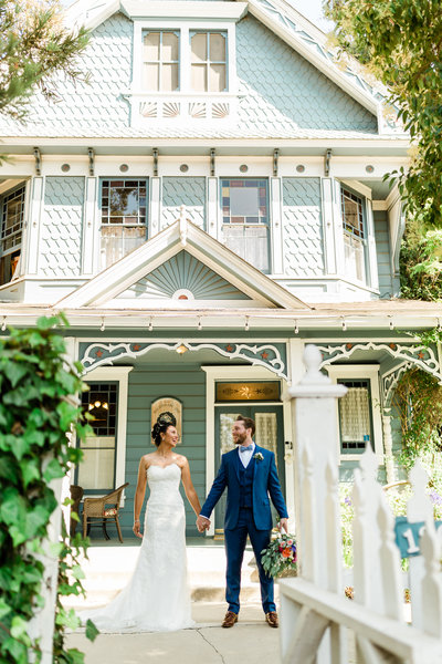 wedding portrait in front of the Kaleidoscope Inn Wedding Venue in Nipomo CA