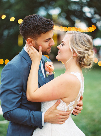 Bride and groom close faces