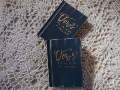 Bride and Groom vow books blue