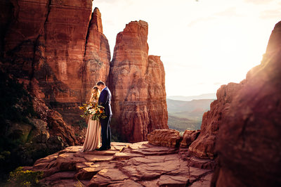 Couple Eloping in Sedona, Arizona on Cathedral Rock