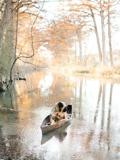 couple in romantic canoe
