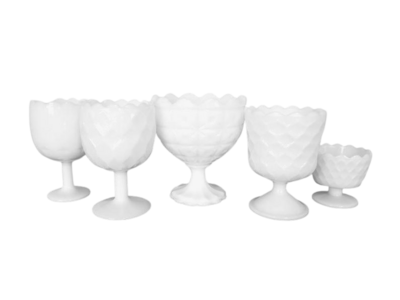 milk glass compotes