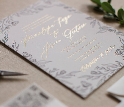 Gold Foil and Black Letterpress Wedding invitation Feathered Heart Prints