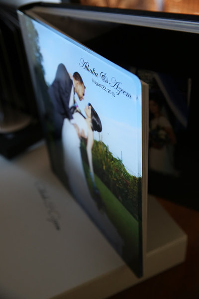 Sample of coffee table wedding album with hardcover and presentation box. By Ross Photography, Trinidad, W.I..