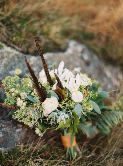 White & Green Bridal Bouquet with Feathers for Autumn Wedding