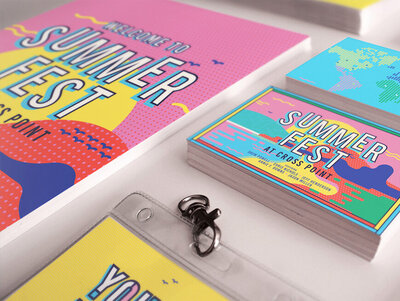 "Branding and marketing collateral for youth church event ""Summerfest"""