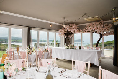 wedding venue blossom tree's. wedding decoration at newport pembrokeshire golf club