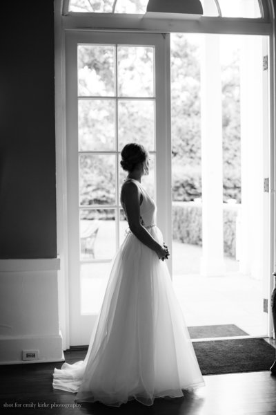 Bride poses at Highlands Country Club in Garrison NY Wedding