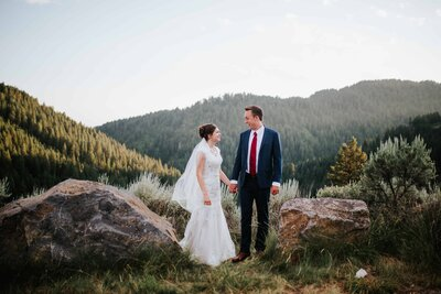 smoky mountain elopement picture bride and groom laughing