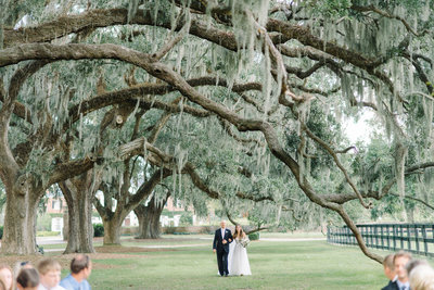 Bride and Dad Walk Down the Aisle Boone Hall Plantation Avenue of Oaks Spanish Moss