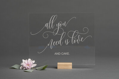 "Clear Acrylic ""All You Need is Love"" Sign"