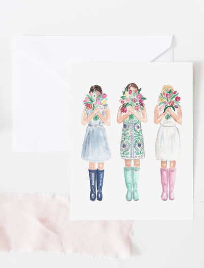 girls with tulips watercolor greeting card