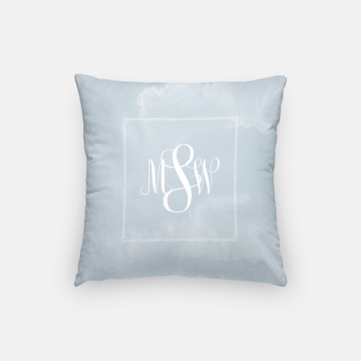 Light Blue Monogram Pillow Mockup