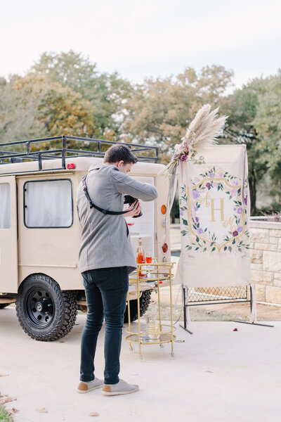 champagne cart at wedding