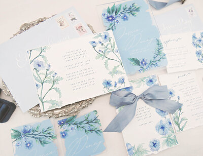 Hand painted acrylic wedding invitations with silk ribbon