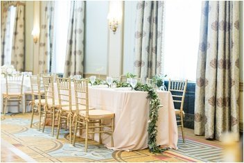 bride and groom table at wedding reception at The Westin Poinsett