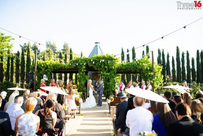 Peltzer Winery Wedding Venue Photography Temecula Bride and Groom at Ceremony